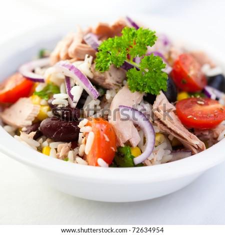 Delicious rice and tuna salad - stock photo