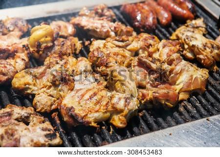 Delicious roast chicken BBQ. Street food grilled chicken.  - stock photo