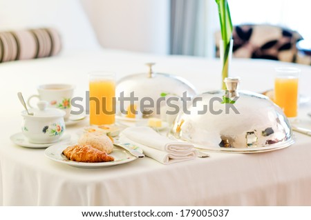 Delicious room service. Breakfast. - stock photo