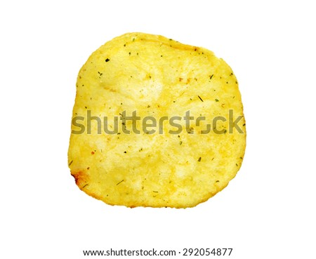 Delicious round potato chips photographed on a white background - stock photo