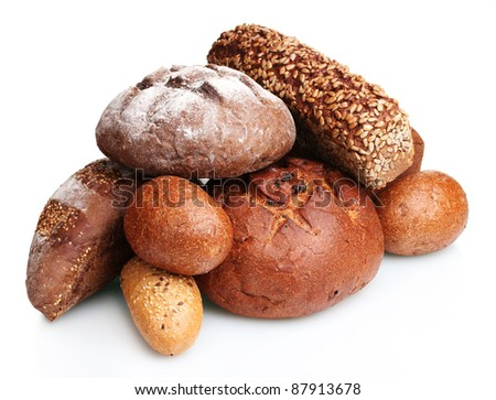 delicious rye breads isolated on white - stock photo