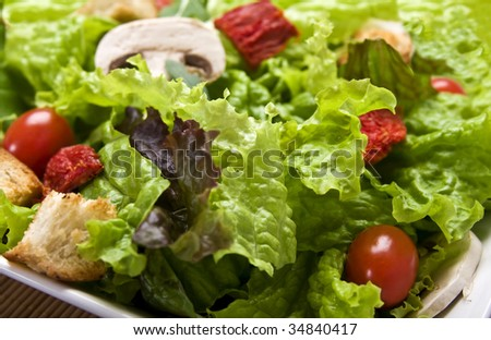 Delicious salad close up with lettuce, dried and cherry tomatoes champignons and croutons. - stock photo