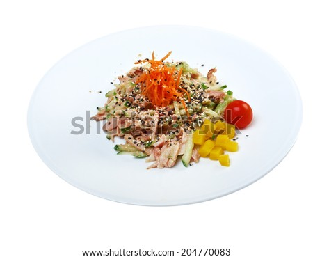 delicious salad with sweet shrimps  - stock photo