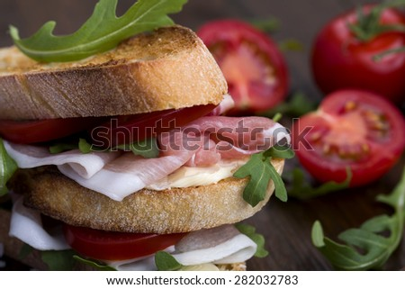 Delicious sandwich on rustic background - stock photo