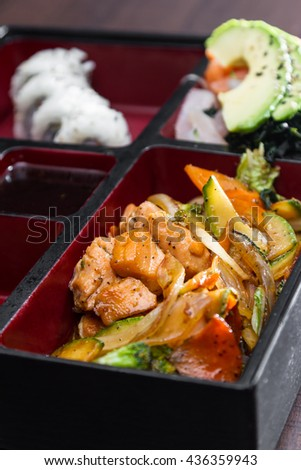 delicious saut�©ed salmon and vegetables meal prepared and presented restaurant style with fresh ingredients - stock photo