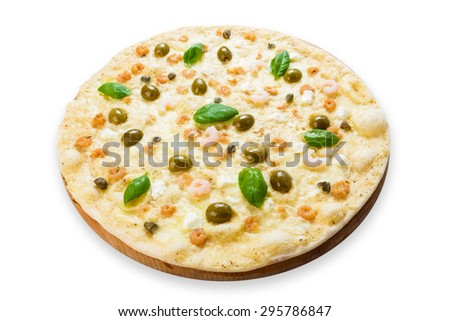 Delicious seafood pizza with shrimps, calamari rings, capers and olives - thin pastry crust at white background - stock photo