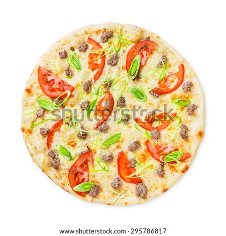 Delicious seafood pizza with tuna fish, tomatoes and leek - thin pastry crust, above view isolated at white - stock photo