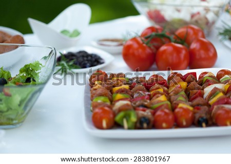 Delicious shishkebabs made from vegetables and chicken - stock photo