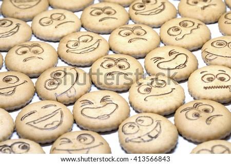 delicious shortbread with smiles - stock photo
