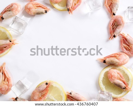 Delicious shrimps with ice cubes - stock photo
