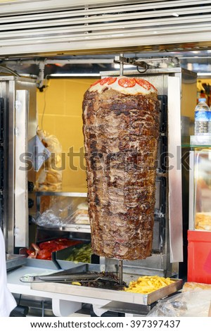 Delicious slabs of skewered fast food shawerma lamb meat ,sandwich meat ,fast food in the Middle East. - stock photo