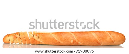 delicious sliced baguette isolated on white - stock photo