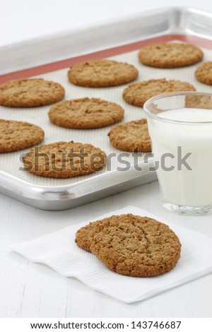 Delicious soft baked oatmeal cookies,  a moist and flavorful dessert that everyone will enjoy and love. - stock photo