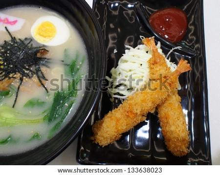 delicious soshu ramen with shrimp fried - stock photo