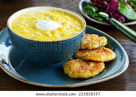Delicious soup young corn. - stock photo