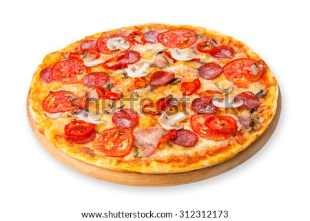 Delicious spicy pizza with mushrooms, chili peppers and pepperoni - thin pastry crust at wooden round desk isolated at white background - stock photo
