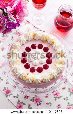 Delicious strawberry cream cake - top view - stock photo