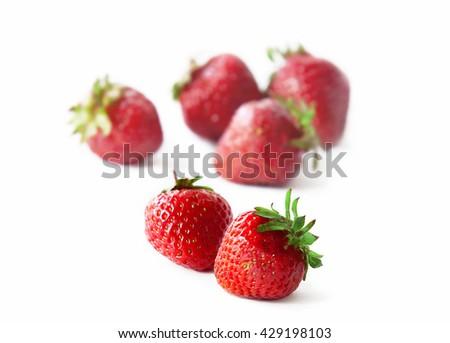 delicious strawberry on white background - stock photo