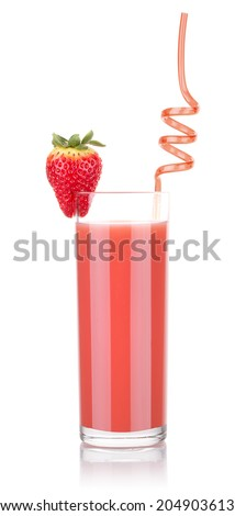Delicious Strawberry smoothie in glass with tube isolated - stock photo