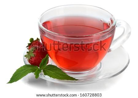 Delicious strawberry tea isolated on white - stock photo