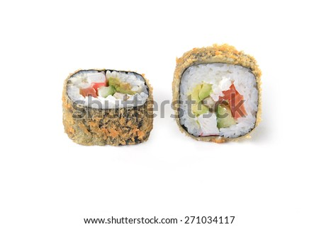 Delicious sushi rolls on white  background - stock photo
