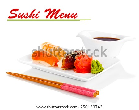 Delicious sushi served on plate isolated on white with space for your text - stock photo