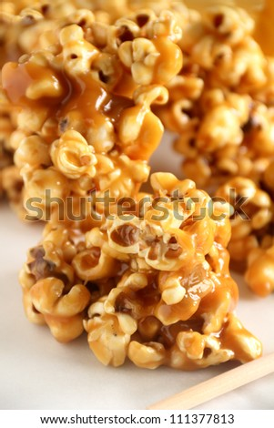 Delicious sweet and crunchy caramel popcorn ready to serve. - stock photo