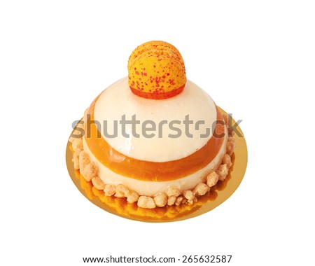 Delicious sweet buffet with jelly cake topped with macaron, isolated on white - stock photo