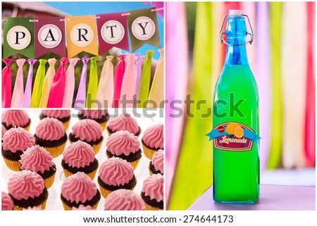 Delicious sweet buffet with lemonade and cupcakes with  vivid striped background. high-resolution collage - stock photo