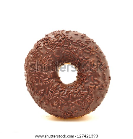 Delicious sweet donuts on white background - stock photo