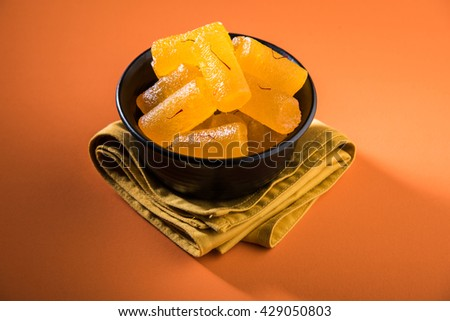 Delicious Sweet Pumpkin Pieces or Dry kesar Petha sweet  - stock photo