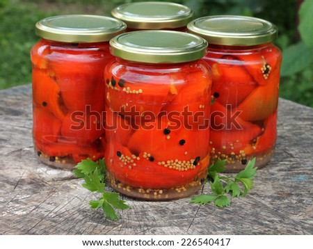 Delicious sweet red pepper pickles - stock photo