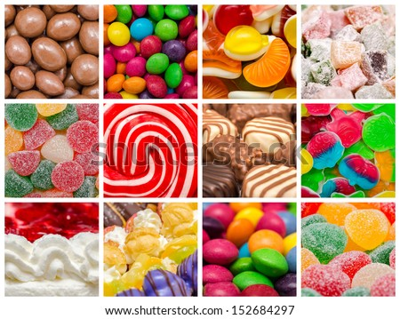 Delicious Sweets Background Collage With Candies, Cookies And Other Confectionery - stock photo