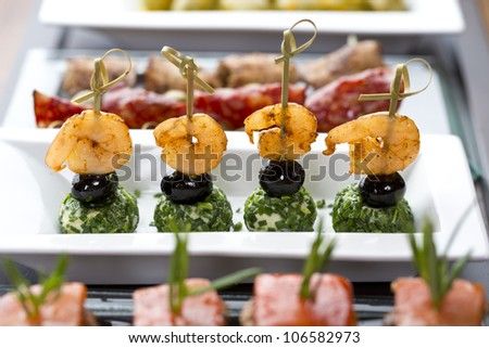 delicious tapas / appetizer food - stock photo