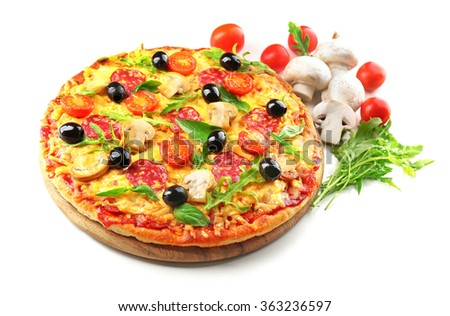 Delicious tasty pizza isolated on white - stock photo