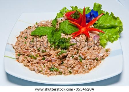 delicious thai food (larb fish) - stock photo