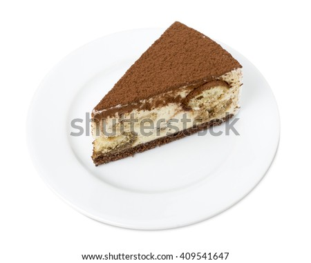 Delicious tiramisu cake. Isolated on a white background. - stock photo