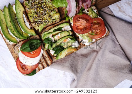 Delicious toast on the table - stock photo