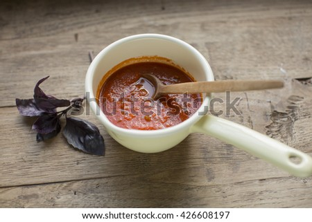 Delicious Tomato Soup with Vegetables - stock photo
