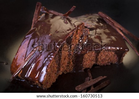 delicious traditional homemade cake topped with chocolate  - stock photo