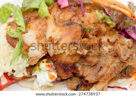 Delicious turkish chicken doner kebab grilled meat - stock photo