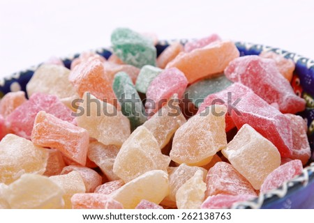 Delicious turkish sweet delight in traditional turkish bowl - stock photo