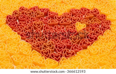 Delicious Valentines pasta in shape of heart - stock photo