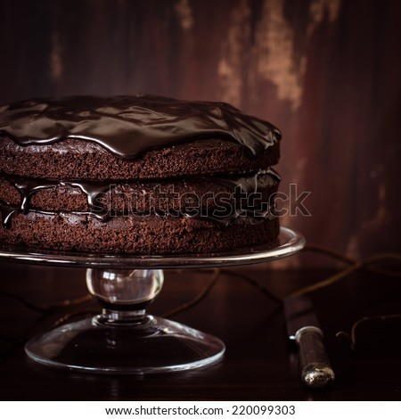 Delicious vegan chocolate cake. Selective focus. - stock photo