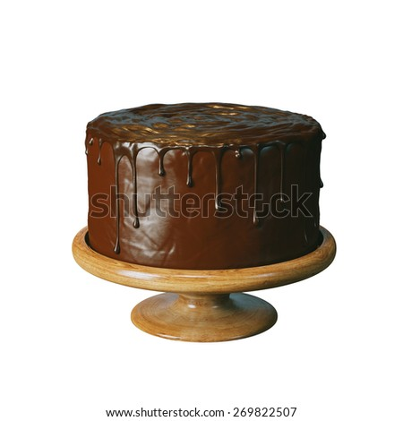 Delicious vegan super chocolate cake on beautiful wooden stands. Isolated on white background version. - stock photo