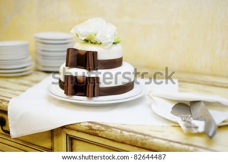 Delicious white and brown wedding cake - stock photo
