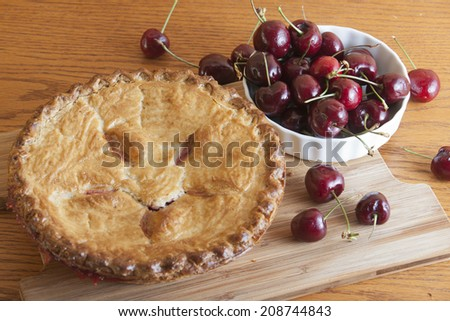 Delicious whole cherry pie - stock photo
