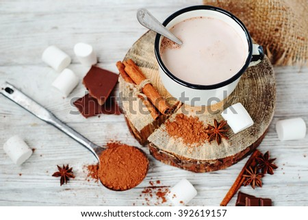 delicious winter hot drink cocoa with marshmallow , cinnamon , chocolate , spices and milk on a white wooden background - stock photo