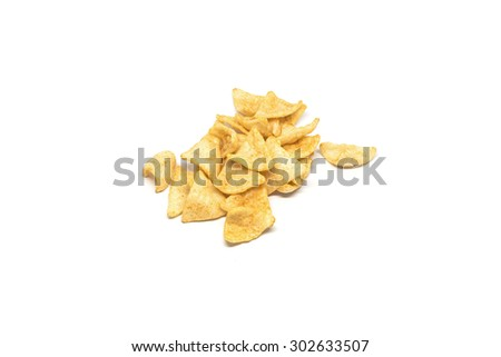 Delicious yellow spicy snacks on white background for food macro closeup shot - stock photo