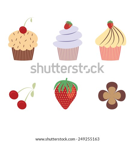 Delicious yummy cupcakes and berries in pastel color - stock photo